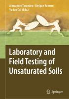 Cover image for Laboratory and field testing of unsaturated soils