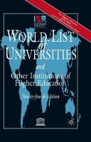 Cover image for World list of universities and other institutions of higher education
