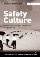 Cover image for Safety culture : assessing and changing the behaviour of organisations