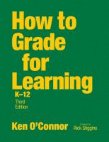 Cover image for How to grade for learning, K-12