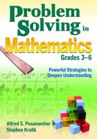 Cover image for Problem solving in mathematics, grades 3-6 : powerful strategies to deepen understanding