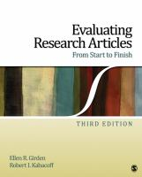 Cover image for Evaluating research articles from start to finish