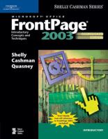 Cover image for Microsoft office frontpage 2003 : introductory concepts and techniques