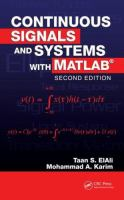Cover image for Continuous signals and systems with MATLAB