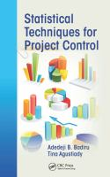 Cover image for Statistical techniques for project control
