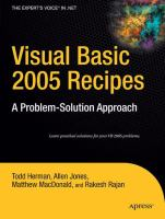 Cover image for Visual basic 2005 recipes a problem-solution approach