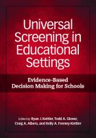 Cover image for Universal screening in educational settings : evidence-based decision making for schools