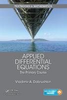 Cover image for Applied differential equations :  the primary course
