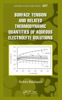 Cover image for Surface tension and related thermodynamic quantities of  aqueous electrolyte solutions