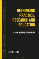 Cover image for Rethinking practice, research and education : a philosophical inquiry