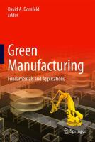 Cover image for Green manufacturing : fundamentals and applications