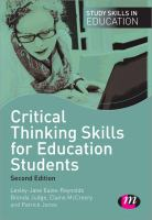 Cover image for Critical thinking skills for education students