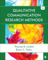 Cover image for Qualitative Communication Research Methods