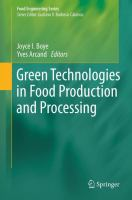 Cover image for Green technologies in food production and processing