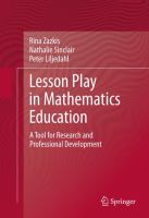 Cover image for Lesson play in mathematics education : a tool for research and professional development