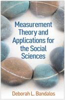 Cover image for Measurement Theory and Applications for the Social Sciences