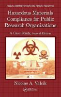 Cover image for Hazardous materials compliance for public research organizations : a case study