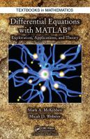 Cover image for Differential equations with MATLAB : exploration, applications, and theory