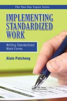 Cover image for Implementing standardized work : writing standardized work forms