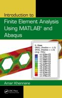 Cover image for Introduction to finite element analysis using MATLAB and Abaqus