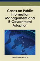 Cover image for Cases on public information management and E-Government adoption