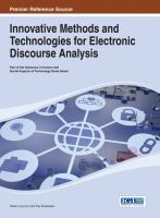 Cover image for Innovative methods and technologies for electronic discourse analysis