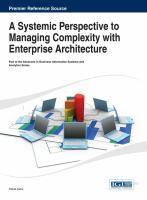 Cover image for A systemic perspective to managing complexity with enterprise architecture