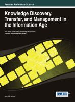 Cover image for Knowledge discovery, transfer, and management in the information age