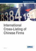 Cover image for International cross-listing of Chinese firms