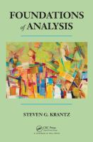 Cover image for Foundations of analysis