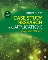 Cover image for Case study research and applications : design and methods