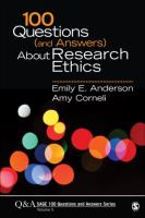 Cover image for 100 questions (and answers) about research ethics