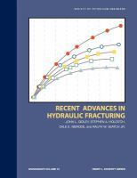 Cover image for Recent advances in hydraulic fracturing