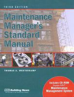 Cover image for Maintenance manager's standard manual