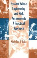 Cover image for System safety engineering and risk assessment : a practical approach