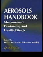 Cover image for Aerosols handbook : measurement, dosimetry, and health effects