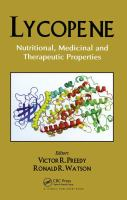 Cover image for Lycopene : nutritional, medicinal and therapeutic properties