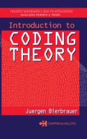 Cover image for Introduction to coding theory