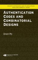 Cover image for Authentification codes and combinatorial designs