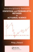 Cover image for Statistical and probabilistic methods in actuarial science