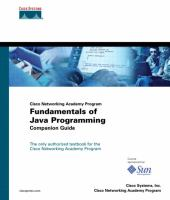 Cover image for Fundamentals of Java programming companion guide