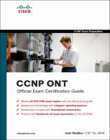 Cover image for CCNP ONT official exam certification guide