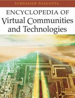 Cover image for Encyclopedia of virtual communities and technologies