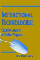 Cover image for Instructional technologies : cognitive aspects of online programs