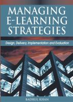 Cover image for Managing e-learning : design, delivery, implementation, and evaluation