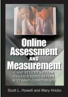 Cover image for Online assessment and measurement : case studies from higher education, K-12, and corporate