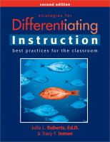 Cover image for Strategies for differentiating instruction : best practices for the classroom