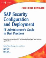 Cover image for SAP security configuration and deployment : the IT administrator's guide to best practices