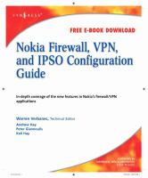 Cover image for Nokia firewell, VPN, and IPSO configuration guide