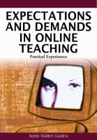 Cover image for Expectations and demands in online teaching : practical experiences